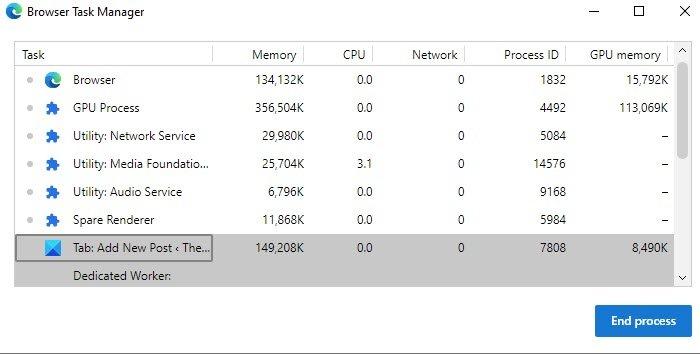 修复Windows 10中的Microsoft Edge高内存使用率