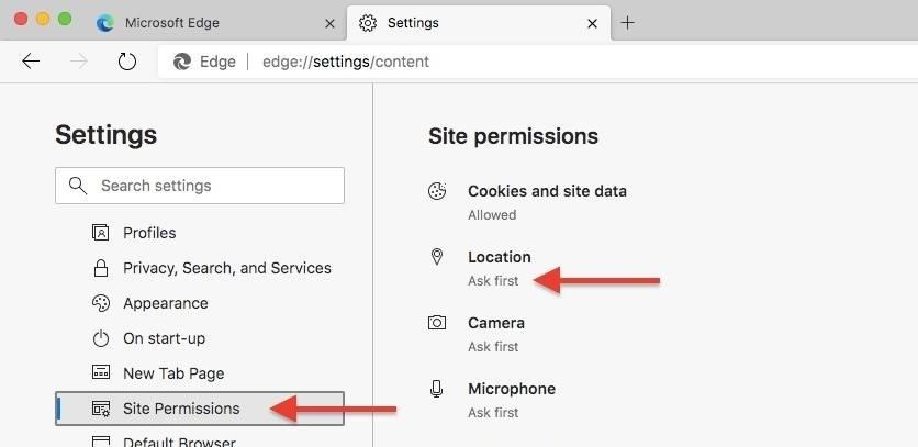 如何在新的Microsoft Edge中更改网站权限