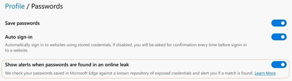 如何在Microsoft Edge中获取密码泄露警报