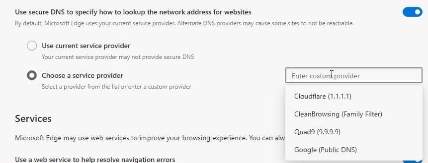 Microsoft Edge禁用备用DNS提供程序来解决性能问题