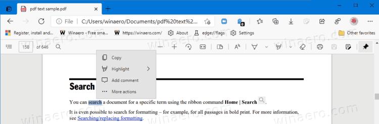 在Microsoft Edge中启用或禁用PDF文件的迷你菜单