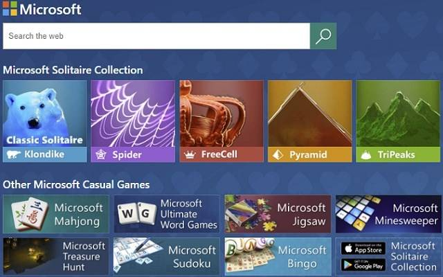 Edge中内置游戏:具有搜索功能的 Microsoft Solitaire Collection