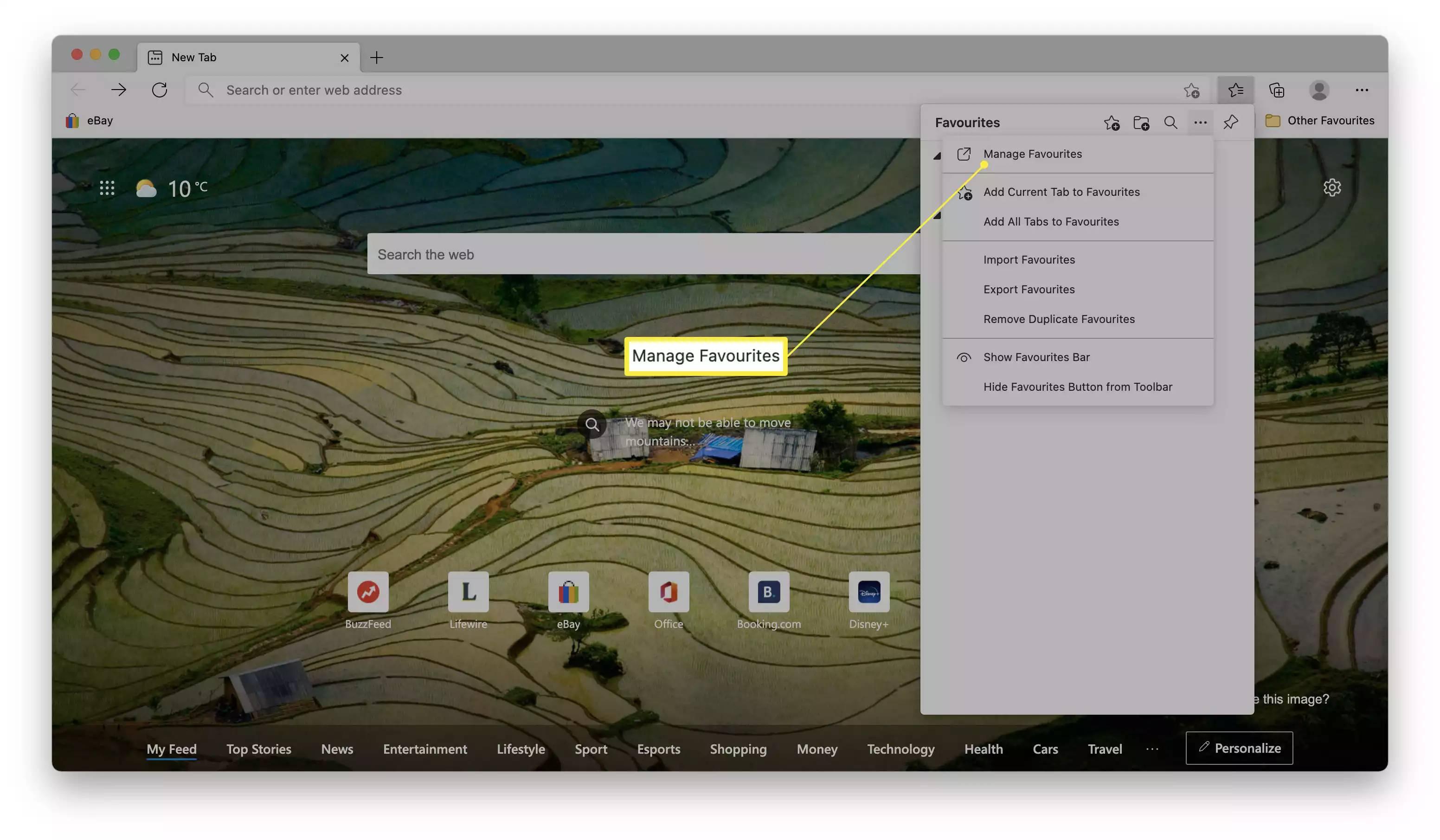 如何在Microsoft Edge上删除单个收藏夹