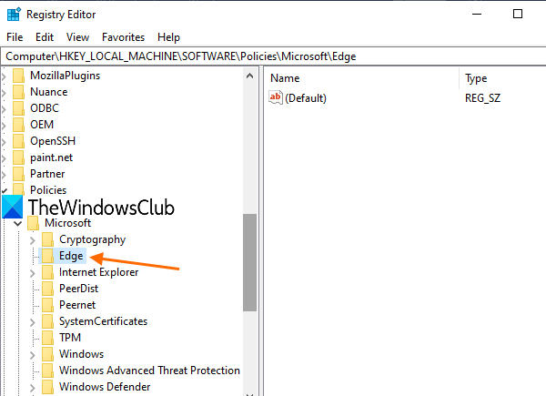 access-Edge-key-in-Registry-Editor
