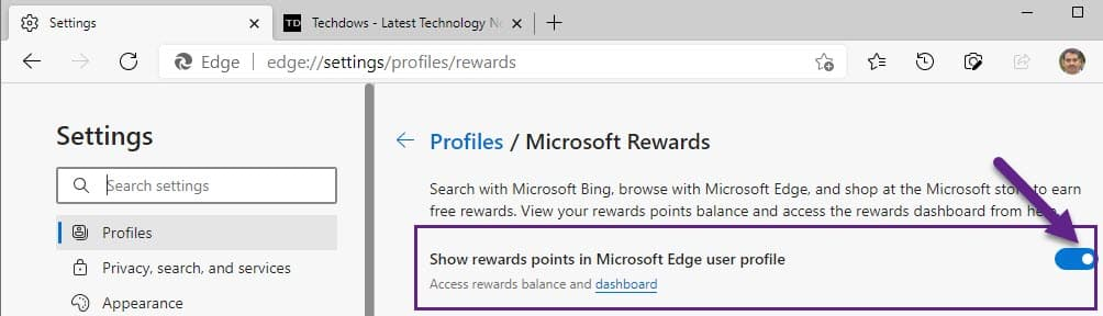 在Edge配置文件中禁用Microsoft奖励积分