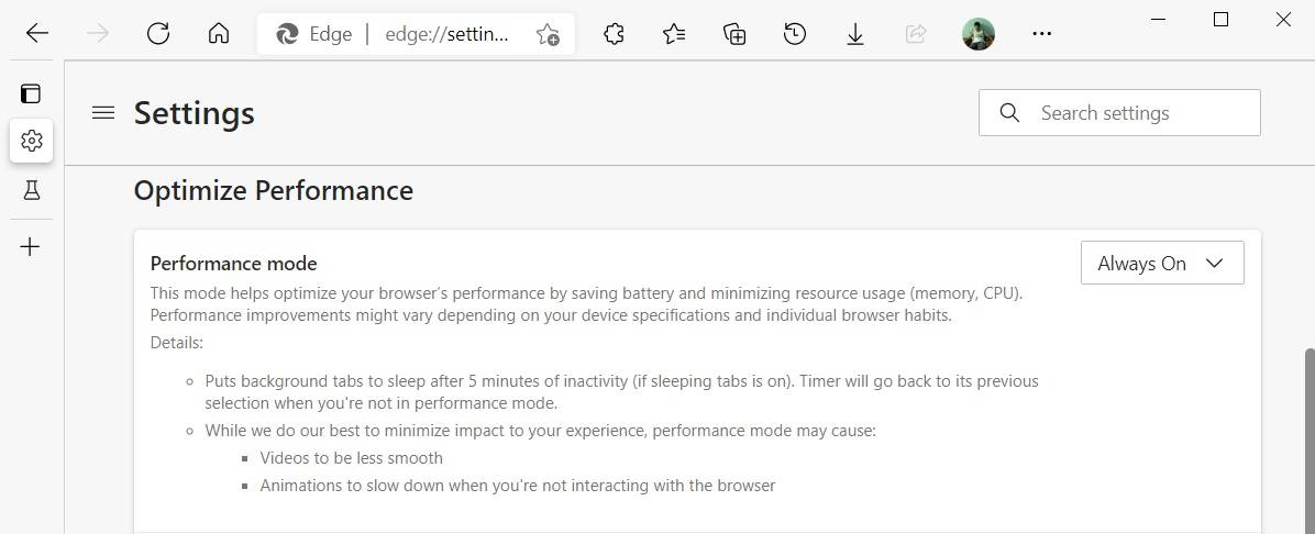 Edge-performance-settings