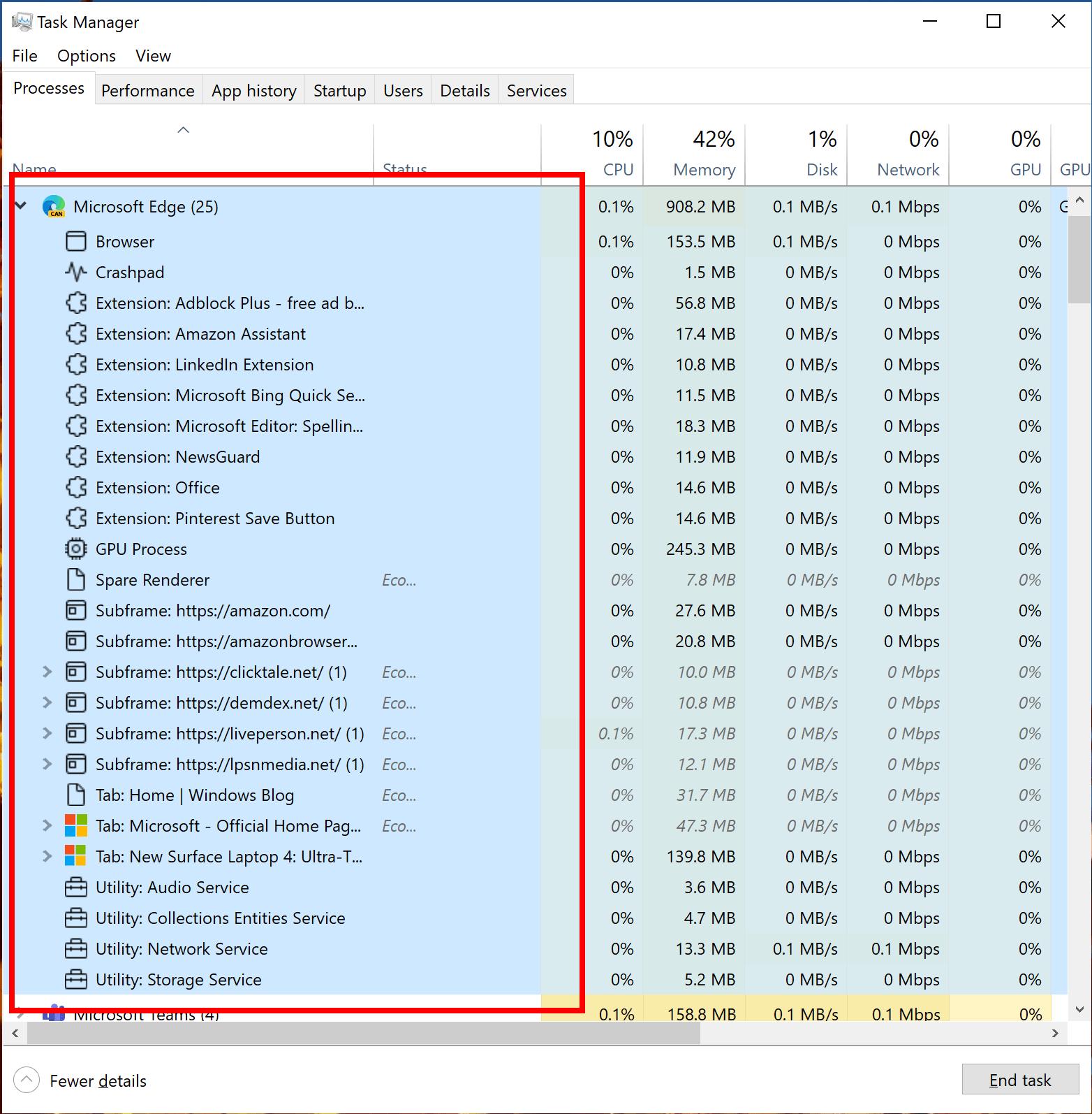 Windows Task Manager获得更好的Edge进程分类和新的Eco模式