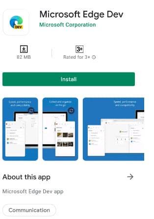 Microsoft-Edge-Dev-Play-Store
