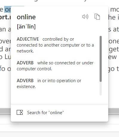 Microsoft Edge获得迷你菜单,内置词典,改进的密码监控器