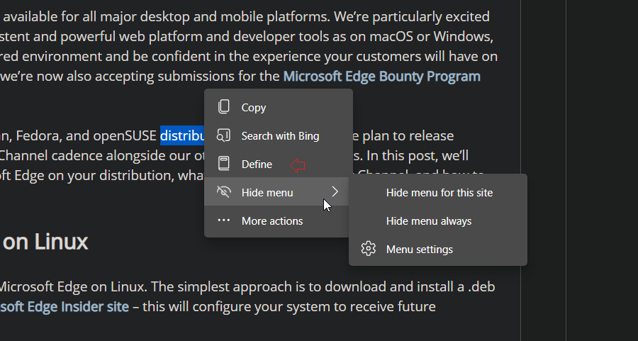 Microsoft将Edge的文本选择迷你菜单扩展到Edge Canary中的常规页面