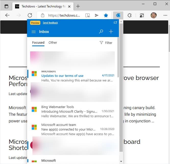 微软发布适用于 Edge 的 Outlook 扩展