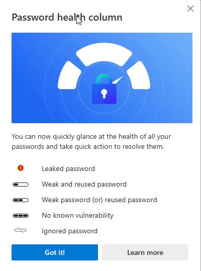 Microsoft Edge 现在会显示哪些密码是重用的或弱的