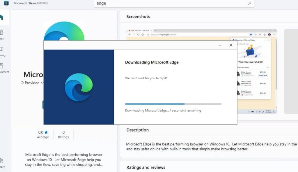 Microsoft Edge 出现在 Windows 11 的应用商店中