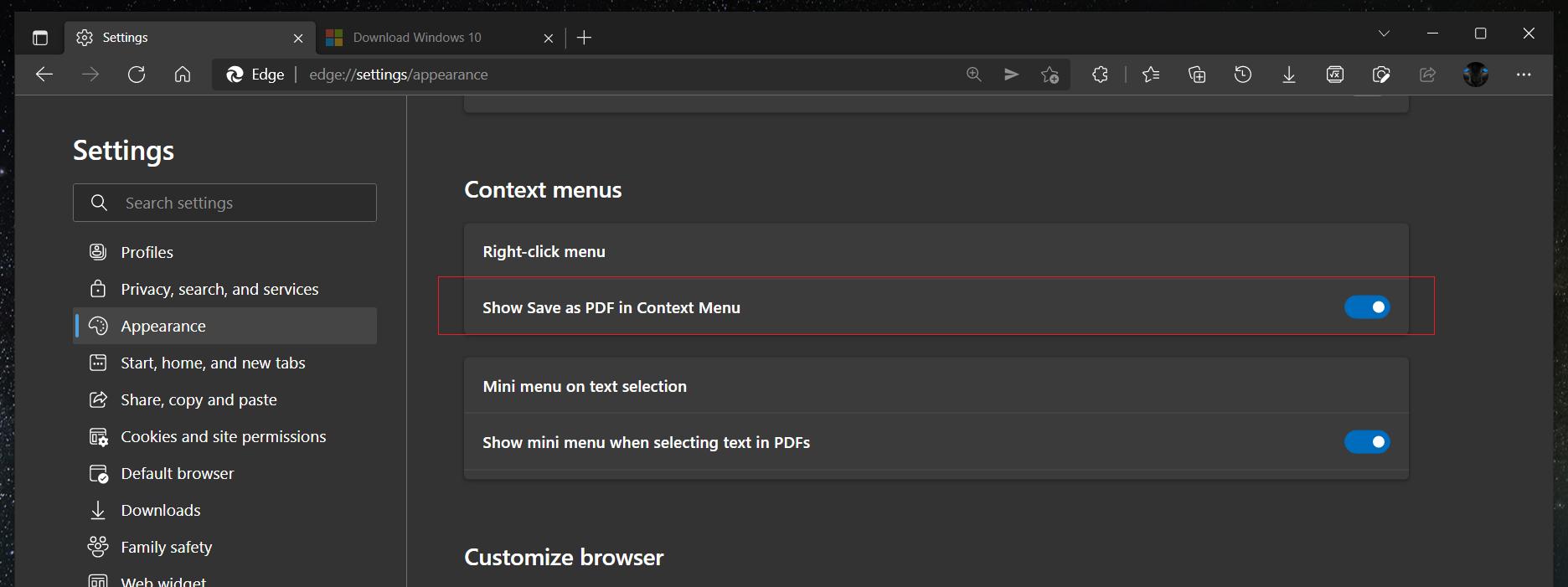 微软为 Edge 中的右键菜单添加了新选项